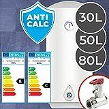 Warmwasserspeicher - 30, 50 oder 80 Liter, elektrisch, druckfest, inkl. Sicherheitsventil, Antikalk Emaillierung, für Wandmontage - Boiler, Warmwasserbereiter, Wasserboiler, Warmwasserboiler für Bad