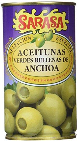 Sarasa Aceituna Verde Manzanilla Rellena de Anchoa - Paquete de 12 x 350 gr - Total: 4200 gr