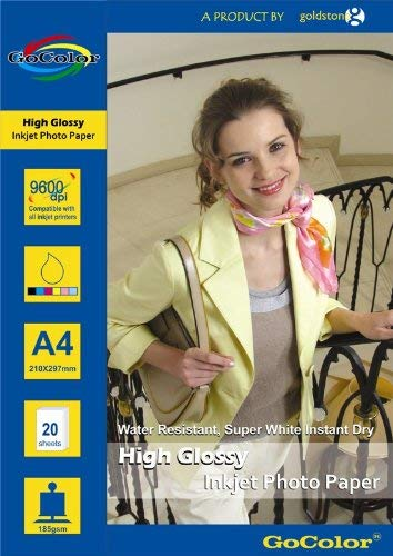 GoColor High Glossy Inkjet Photo Paper 185Gsm A4 20 Sheets