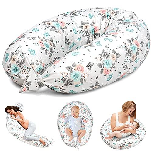 Almohada Embarazada y Cojin Lactancia - Cojín Embarazo Maternidad Dormir y Cojines Nido Bebe Grande (Rosas Y Mariposas, 165 x 70 cm)