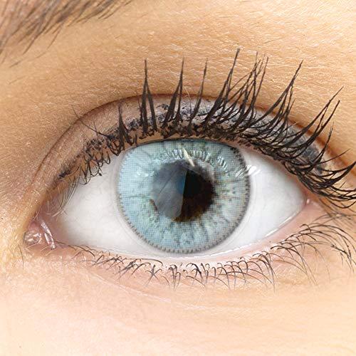 GLAMLENS Ravenna Gray grau + Behälter | Sehr stark deckende natürliche graue Kontaktlinsen farbig | farbige Monatslinsen aus Silikon Hydrogel | 1 Paar (2 Stück) | DIA 14.20 | Ohne Stärke