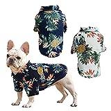RoxNvm Camiseta de Verano para Perros, Camisas de Perro Hawaiano, Playera para Perros Estilo Resort de Playa, Ropa de Perro Transpirable de Moda para Cachorros, 2 Piezas, Azul y Blanco (Medio)