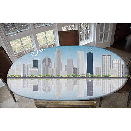 Chicago Skyline Housse de table élastique en polyester Motif gratte-ciels du lac Michigan Illinois Classique American Scenery Street Nappe rectangulaire ovale pour table jusqu'à 121,9 x 172,7 cm
