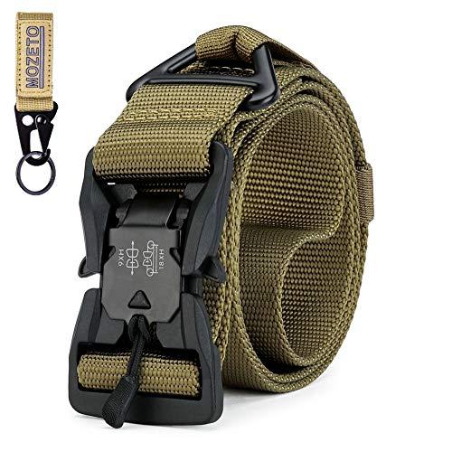 MOZETO Taktischer Gürtel, Unisex Gürtel mit Schnellspanner Magnetisch Schnalle, Hochwertiges Nylon, Metall V-Ring, Geschenkbox