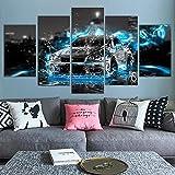 Artistique Decoration Murale 5 Parties Poster Tableaux Voiture de sport Nissa GTR 5 pièces moderne tendue et encadrée Toile illustrations Decoration Murale Salon Home Créatif