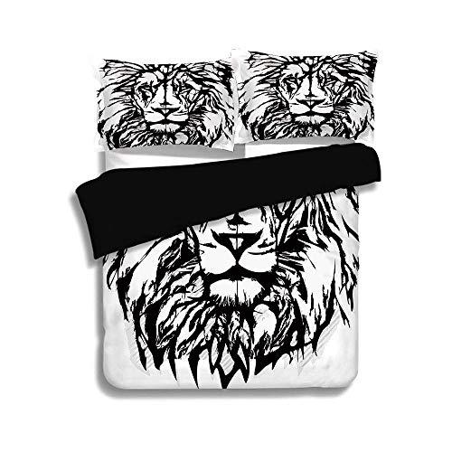 Juego de funda nórdica negra, león, arte de boceto del safari africano Animal King of The Jungle Savannah Wildlife Decorative, Black White Pale Grey, Juego de cama decorativo de 3 piezas con 2 fundas