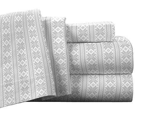 Pointehaven Flannel Deep Pocket Set with Oversized Flat Sheet, Queen, Fair Isle