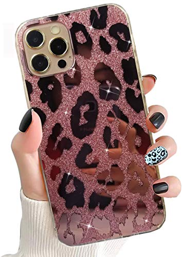 Leopard Case for iPhone 12 Pro Max 6.7 inch 2020 Released,Girl's Pink Glitter Case Ultra Thin Luxury Sparkle Bling Shock Absortion Rose Gold Phone Hard Back + Soft Silicone Side Cover