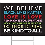 """ORMAT We Believe Yard Sign, Black Lives Matter Yard Sign 24"""" x 18"""" Corrugated Plastic Yard Signs with Stakes H-Frame Ground Stake Sign Holder"""