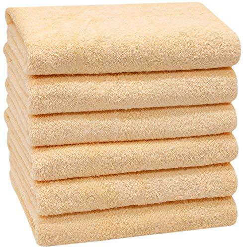 ZOLLNER 6 Asciugamani da Bagno, 100% Cotone, 50x100 cm, 400g/mq, Giallo