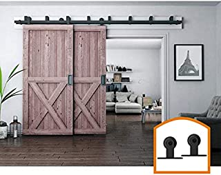 ZEKOO 9FT Bypass Sliding Barn Door Hardware Low Ceiling Door Flat Track