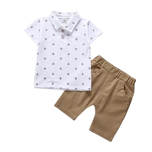49b37f2b5 Blaward Toddler Kids Baby Boys Anchor Pattern Button Down T-Shirt Tops+ Shorts Pants