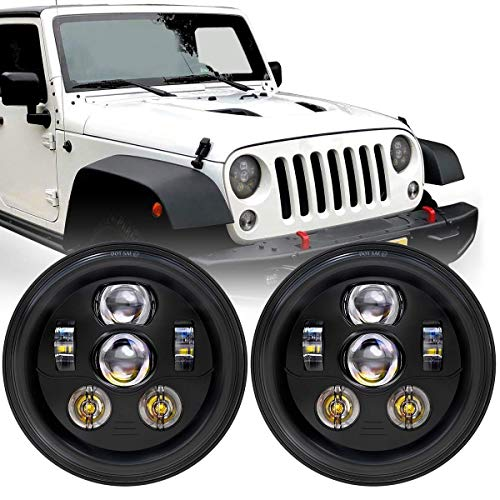 DOT Approved 7 Inch Round LED Headlights with High Low Beam Compatible with Jeep Wrangler JK JKU TJ LJ CJ 4 Door 2 Door Hummer H1 H2 H6024 Headlamp Replacement 6 Bulbs (2PCS)