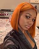 Elesty Orange Synthetic Lace Front Wig Heat Resistant Fiber Hair Short Bob Glueless Lace Wigs For Women