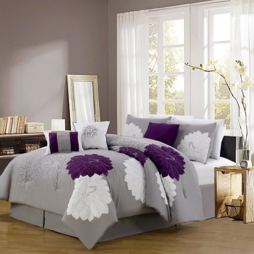 KingLinen 7 Piece Queen Provence Embroidered Comforter Set