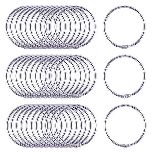 Antner 1.5 Inch (48 Pack) Loose Leaf Binder Rings, Nickel Plated Metal Book Rings Binding Rings Keychain Key Rings for Office School and Home