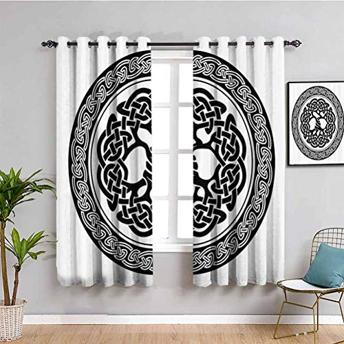 Celtic Decor Printed Bedroom Curtains Decor Native Celtic Tree of Life Figure Ireland Early Renaissance Artsy Medallion Design Soundproof Shade W55 x L63 Inch Black White