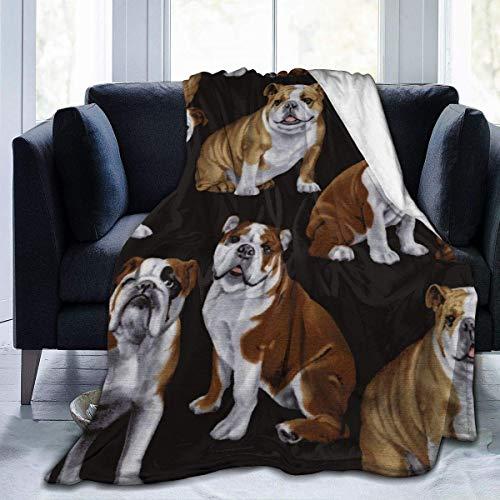 Manta de microforro polar ultrasuave para perros ingleses, manta cálida, manta ultra suave y gruesa para sofá de cama, manta de cama de alta calidad para todas las estaciones (60 x 50 pulgadas)