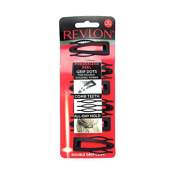 Beauty Shopping Revlon Rubberized Double Grip Black Hair Clips, 6 count