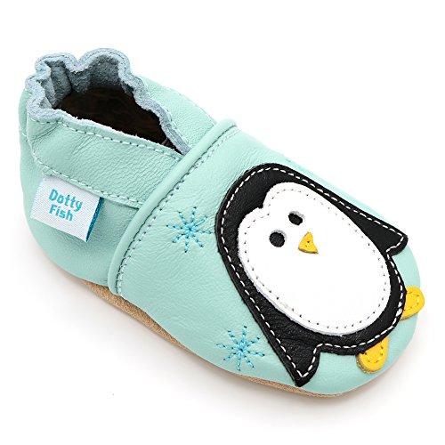 Dotty Fish weiche Leder Babyschuhe mit rutschfesten Wildledersohlen. Kleinkind Schuhe. Mintfarben mit Pinguin. Mädchen und Jungen. 6-12 Monate (19 EU)