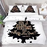 3 Pieces Duvet Cover Sets Aesthetic Black Merry Chrismas Tree Soft Tencel Bedding Sets for Kids Boys Girls Comforter Cover with 2 Pillow Shams Zipper Closure,No Comforter