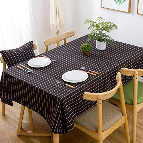 Ahuike Rectangular Table Cloths Waterproof Tablecloths Prevent Liquid Penetration Wipeable Washable Table Cloth for Dining Kitchen Party Table Covers Black 110×170