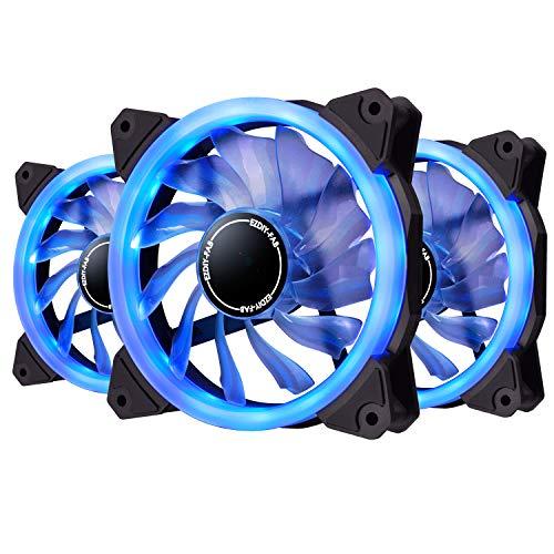 EZDIY-FAB Ventilador de Anillo LED de 120mm,Ventilador de Caja LED,Refrigerador de CPU y Radiadores,Azul 3 Pin 3 Pack