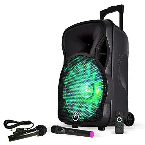 PACK DJ ENCEINTE SONO 600W KARAOKE PORTABLE + PIED + MICRO SANS FIL + BLUETOOTH USB SD