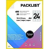 PACKLIST 480 Etiquetas Adhesivas A4 Blancas 70 x 37 mm. 20 Hojas Papel Pegatina para Imprimir A4, 24 Etiquetas por Hoja - Papel Adhesivo para Imprimir - Papel de Pegatina para Imprimir Premium