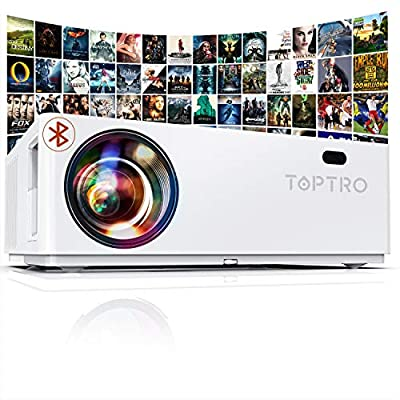 "TOPTRO Bluetooth Projector,Native 1080P and 350"" Display,7000 Lux Video Projector,Support 4K,Zoom&±50°4D Keystone Correction,Home Theater Projector Compatible with Phone/TV Stick/PC/USB/PS4/DVD"