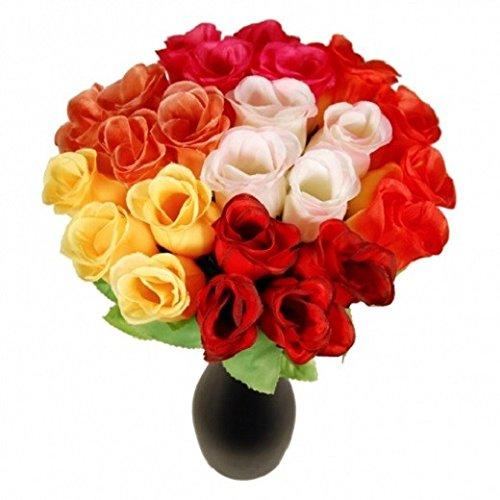 Schramm® 72er Pack Hecken Rosen bunt 26cm 6 Farben Kunstblumen Seidenblumen Bunte Rose