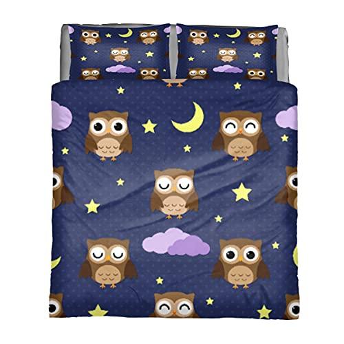 Juego de funda de edredón para cama King Cute Owl Sleeping Night, juego de edredón ligero para todas las estaciones 3 piezas juegos de cama con 1 funda de edredón y 2 fundas de almohada