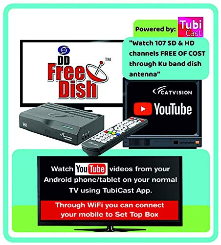 Catvision Advanced 2 in 1 Set Top Box with Mobile Cast to Television from Android Phones/Tablets | HDMI Connectivity | 2 Years Warranty |