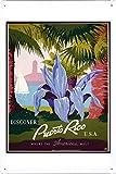 Tin Sign of Retro Vintage Travel Poster Puerto Rico