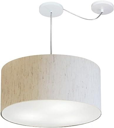 Lustre Pendente com Desvio de Centro Cúpula Tecido 55x25 cm, Vivare Iluminação, Pendente4263 LLA, Linho Bege, Médio