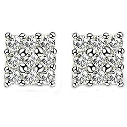 Women Earrings Silver Plated Square Shape Women's Earrings Anchor Ear Studs Elegant Women's Earrings Silver with White Cubic Bracelets Earrings Rings Necklaces