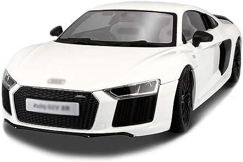 GXL- Sportwagenmodell Simulation Legierung statische Auto Modell Spielzeugauto Modellsammlung dekorative Audi R8V10 Plus Druckgussmodell 1 18 (Farbe   Weiß)