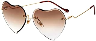 Heart Sunglasses for women Rimless Thin Metal Frame Heart...