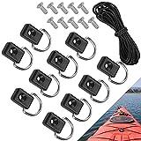BUZIFU Paquete de 10 Piezas de Kayak D Ring Bungee Deck Rigging Kit de Acero Inoxidable con Anillo en D de Repuesto para Aparejos de Pesca, Accesorios de Kayak con Cuerda Elástica Negra de 10 m