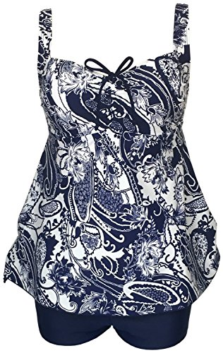 Haogo Women's Plus Size Retro Drawstring Ruched Floral Skirted Tankini Swimsuit Light Blue 3X-Large