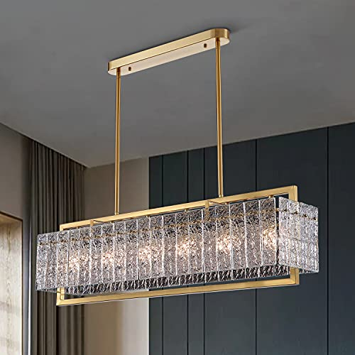 Moooni Luxury Rectangle Crystal Chandelier Modern...