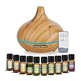 MEVA Difusor de aceites esenciales Humidificador Ultrasónico 500ml para Aromaterapia y purificador de aire con 7 colores Led y control remoto en acabados tipo madera (MADERA BAMBÚ)