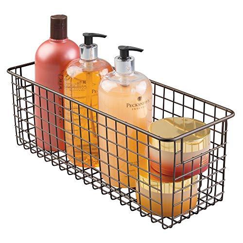 mDesign Contenitore cosmetici e portasciugamani - Portaoggetti beauty e organizer bagno - Cestino per shampoo, lozioni, spugne - Colore: bronzo