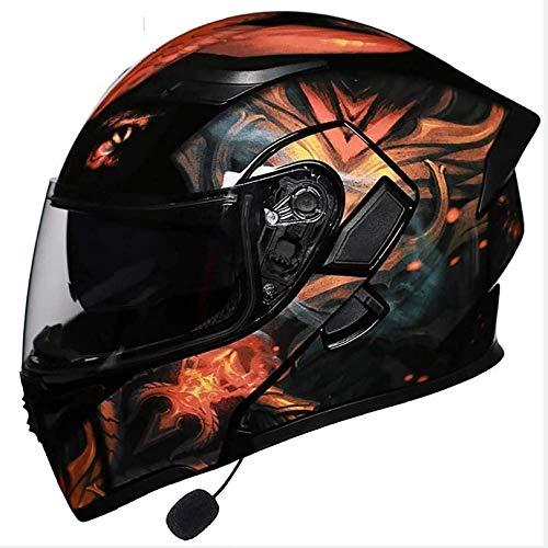 WWJ Bluetooth Geïntegreerde Motorhelmen, Full Face Flip Up Dubbele Vizieren Modulaire Motorcross Helmen Ingebouwde Luidspreker Headset Microfoon voor Automatisch Beantwoorden Dot Goedgekeurd 4,
