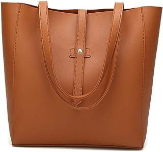 Aigoode Damen Große Umhängetasche Leder Einkaufstasche, Mode-Design Einkaufstasche Super Große Praktische Tasche.Braun