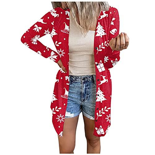Chaqueta de punto para mujer de Navidad, elegante, manga larga, jersey sólido, abierto, abrigo, ropa exterior, sudadera, cárdigan suelto con botones, rojo, M