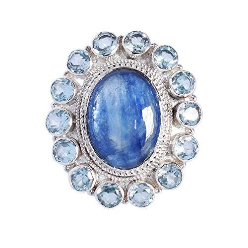 Anillo de piedra de cianita natural, topacio azul, anillos de cóctel, plata de ley 925 maciza, anillo Boho de joyería hecho a mano, anillo para mujer FSJ-4766
