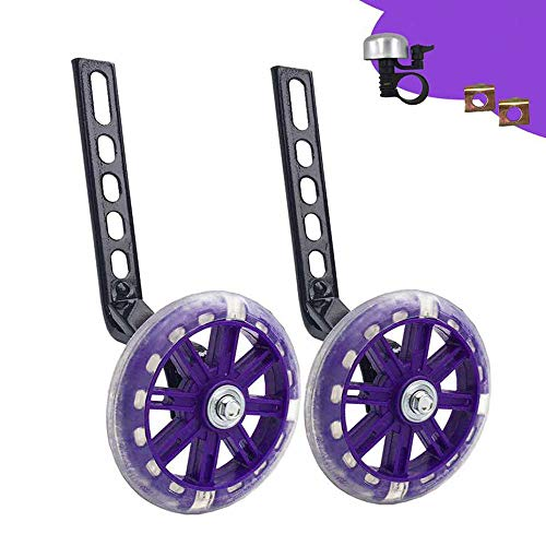 Training Wheels for Bike,Compatible for Bikes of 12/14/16/18/20 Inch,Flash Mute Wheel (Purple)