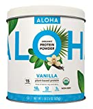 ALOHA Organic Vanilla Plant-Based Keto Friendly Protein Powder with MCT Oil, 18.5 oz, Makes 15 Shakes, Vegan, Gluten Free, Non-GMO, Stevia Free & Erythritol Free, Soy Free, Dairy Free & Only 3g Sugar