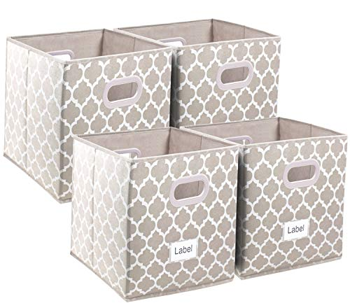 Cloth Storage Bins 13x13, Foldable Cubes Basket Organizer Container Drawers with Dual Plastic Handles for Closet, Bedroom, Toys,Set of 4 coffee